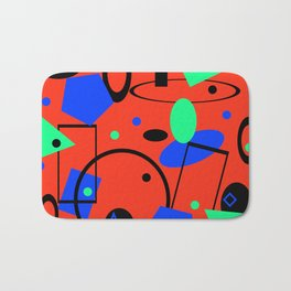 Retro abstract red print Bath Mat