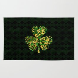Decorative Irish Shamrock -Clover Gold and Green Rug