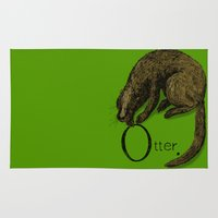 otter Area & Throw Rugs featuring Otter by zuzia turek
