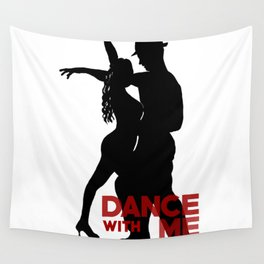 Dance with me - Ink Painting +  Typography Wall Art Home Decor Black and White Music  Wall Tapestry