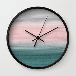 Touching Teal Blush Gray Watercolor Abstract #1 #painting #decor #art #society6 Wall Clock