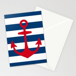 Red Anchor on Navy Blue Stripes Stationery Cards