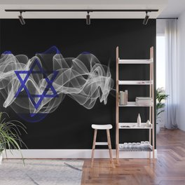 Israel Smoke Flag on Black Background, Israel flag Wall Mural