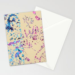 Fiber art, mixed media, fabric collage, beige off-white blue pink purple Stationery Cards
