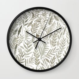 Grey Botanical Wall Clock