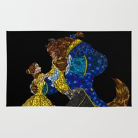 beauty and the beast Area & Throw Rugs featuring Beauty and the Beast by JackEmmett