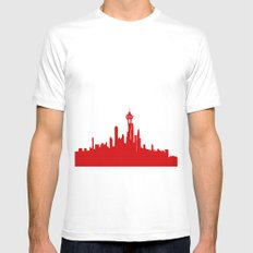 Seattle Skyline silhouette MEDIUM Mens Fitted Tee White