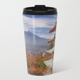Chureito pagoda and Mount Fuji, Japan in autumn Travel Mug