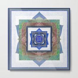 Sacred Geometry Meditation Vortex in Boho Textures & Tones Metal Print