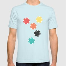 #21 Poker Chips MEDIUM Light Blue Mens Fitted Tee