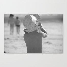 Kid with hat N&B Canvas Print