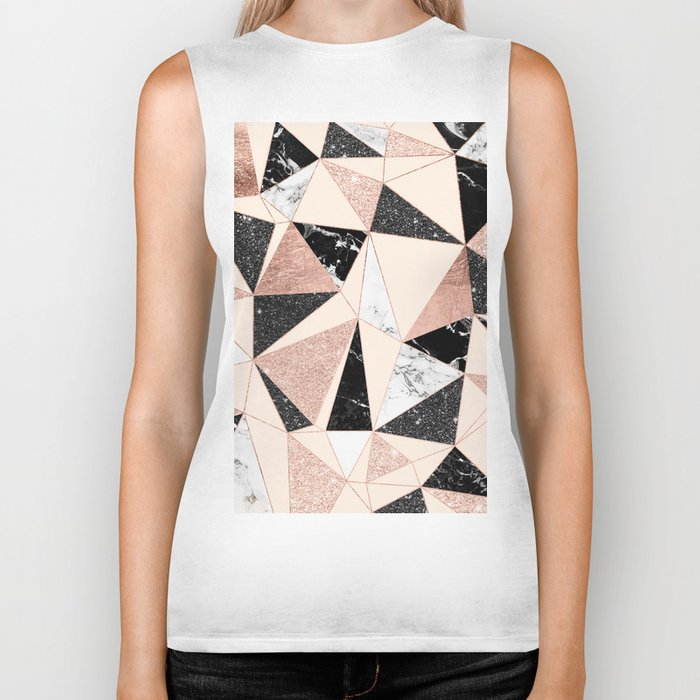 Modern black white marble rose gold glitter foil geometric abstract triangles pattern Biker Tank