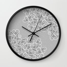 Comtemporary Abstract Leaves Grey Pattern Wall Clock