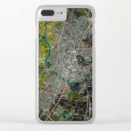 Austin Texas old vintage colorful map, original gift for office decoration Clear iPhone Case