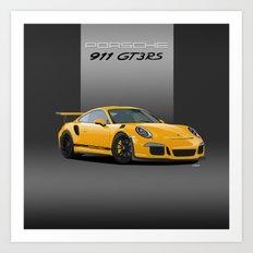 Porsche 911 GT3 RS in Racing Yellow Art Print
