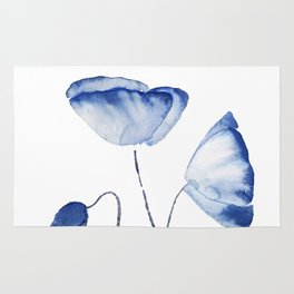 indigo poppy watercolor Rug