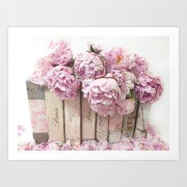 Shabby Chic Pink Peonies Paris Books Wall Art Print Home Decor Art Print
