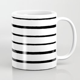 Black and White Rough Organic Stripes Coffee Mug