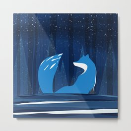 Wintery Blue Forest FOX Design Metal Print