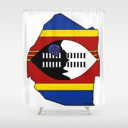 Swaziland Map with Swazi Flag Shower Curtain