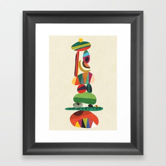 Totem - balanced pebbles Framed Art Print