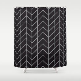 Black and Grey Herring Pattern Shower Curtain