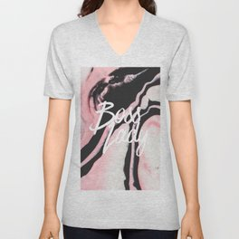 Boss Lady Pink Black Painted Marble Unisex V-Neck