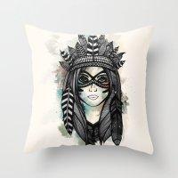 headdress Throw Pillows featuring Headdress by Caleb Swenson