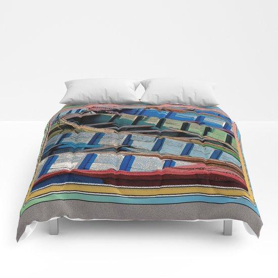 COLORFUL CANOES ALONG PHEWA LAKE SHORELINE POKHARA NEPAL Comforters