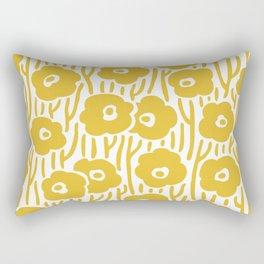 Mid Century Modern Wild Flowers Pattern Mustard Yellow Rectangular Pillow