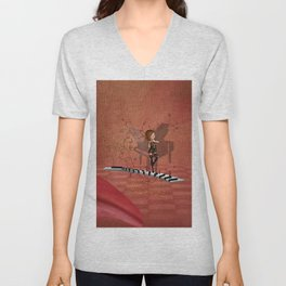 Cute fairy dancing on a piano Unisex V-Neck