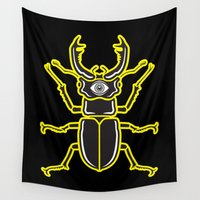 beetle Wall Tapestries featuring Nightmare Beetle by Enrique Valles