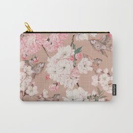 Vintage Japanese Garden, Sakura Cherry Blossom Flowers and Sparrow Birds Pattern in Tan and Blush  Carry-All Pouch