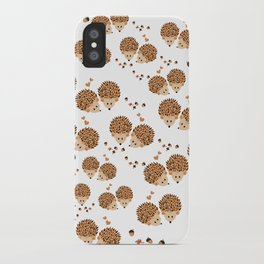 Hedgehogs in autumn iPhone Case