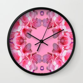 Decorative Pink Flower Blossoms Wall Clock