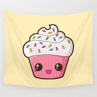 cupcake Wall Tapestries featuring Happy Cupcake by Katie White