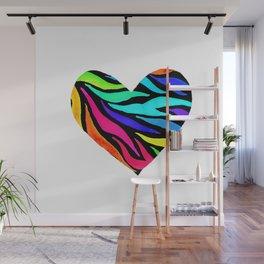 Rainbow Zebra Print Heart! Wall Mural