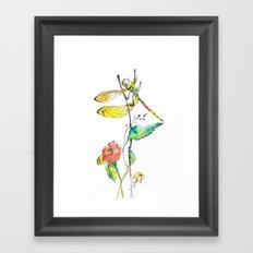 Dragonfly and Flowers Framed Art Print