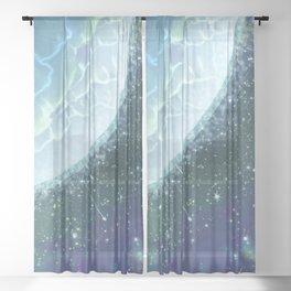 Mystical blue planet Sheer Curtain