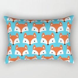 Cute Woodland Fox Pattern Design / Blue Rectangular Pillow