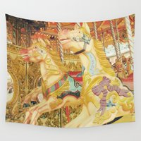carousel Wall Tapestries featuring Carousel Horse by WhimsyRomance&Fun