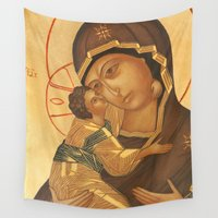 madonna Wall Tapestries featuring Orthodox Icon of Virgin Mary and Baby Jesus by Palazzo Art Gallery