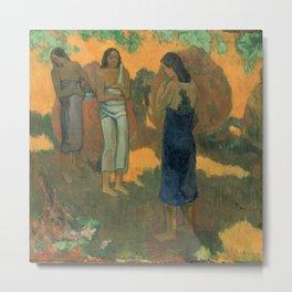 Three Tahitian Women Against a Yellow Background Metal Print