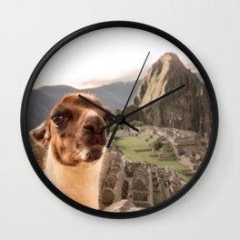 Llama's selfie in Machu Picchu Wall Clock