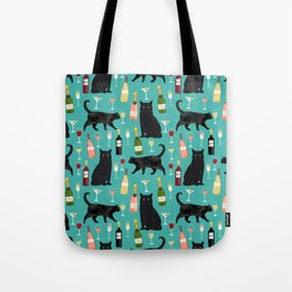 Black cat wine champagne cocktails cat breeds cat lover pattern art print Tote Bag