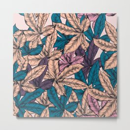 Tropical hand drawn pattern with leaves Metal Print