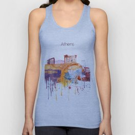 Colorful Athens watercolor skyline Unisex Tank Top