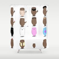 bears Shower Curtains featuring Bears Bears Bears by Aaron Cushley
