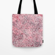Burgundy red and white swirls doodles Tote Bag