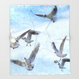 Gulls In Flight Watercolor Throw Blanket